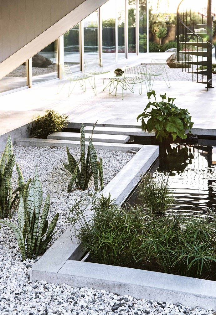 "That [plant palette is drought and sun-hardy](https://www.homestolove.com.au/drought-tolerant-garden-and-plants-18841|target=""_blank""), suiting the summer-scorching westerly facing front of the block. James was keen that movement into the garden should not be along a straight path, so the garden beds are irregular shapes, matching the angles of the architecture. The raised beds are walled in concrete, formed up with rough-hewn timber to give a textural finish.<br><br>**Pond feature** The angular pond was inspired by a water feature at the entry to actor Gary Cooper's modernist LA home."
