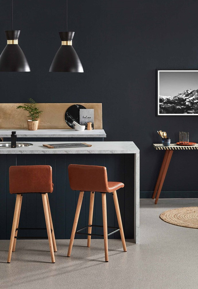 "*Matera faux leather and wood barstools from [Temple & Webster](https://www.templeandwebster.com.au/|target=""_blank""