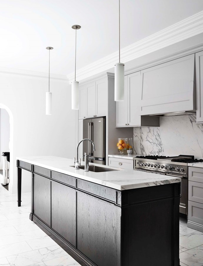 More furniture than fitting, an island bench forms a stunning centrepiece in this Thomas Hamel & Associates-designed kitchen. *Photograph*: Anson Smart.