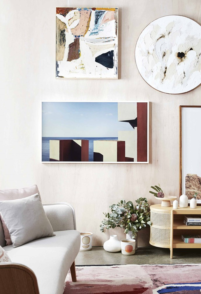 """Samsung's 'The Frame' TV features Art Mode with a choice of art to display while not in use. Samsung 'The Frame' 65-inch 4K ultra HD TV, $3495, [Harvey Norman](https://www.harveynorman.com.au/ target=""""_blank"""" rel=""""nofollow""""). *Photography: Sam McAdam-Cooper   Styling: Jono Fleming and Natalie Johnson   Production: Mia Daminato   Photography assistance: Jorge Rivera   Styling assistance: Kate Gallagher and Sarah Cousens   Artworks: Nacho Alegre (on tv), 'We Remember the Heat' by James Drinkwater (above TV), 'The Pure' by Lisa Madigan (top right), 'Dry 3' by Chris Warnes (right of tv). Rug: Jan Billycan.*"""
