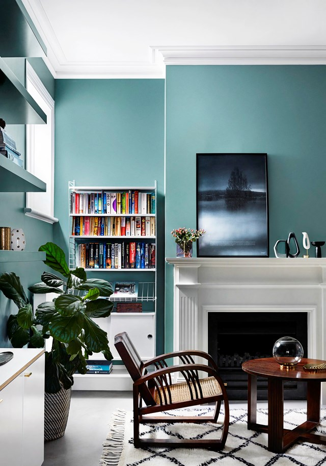"A mix of old and new furniture and palette of bold paint colours bring this old [Edwardian home](https://www.homestolove.com.au/edwardian-house-interior-colours-19813|target=""_blank"") to life. The armchair and coffee table are vintage. The artwork is a print from House of Beatniks."