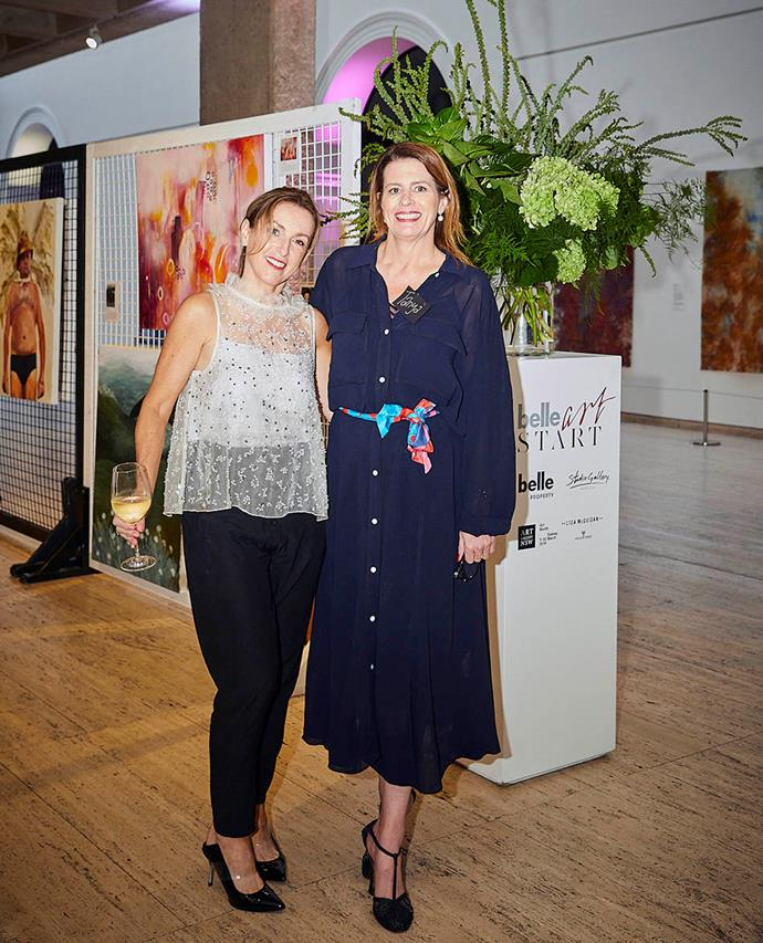 Kerry Armstrong, artist and owner of Studio Gallery Melbourne, with *Belle* editor Tanya Buchanan.