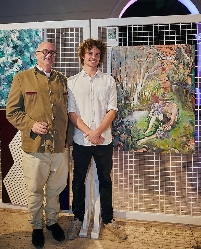 One of the judges, Michael Reid of Michael Reid Gallery, pictured with third-prize winner Archie Tait and his work, *Monty and Agapanthus*.