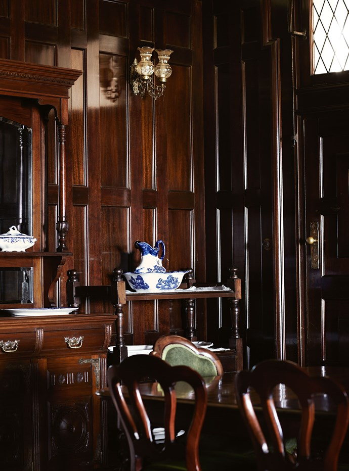 The grand dining room features Queensland blackbean panelling.