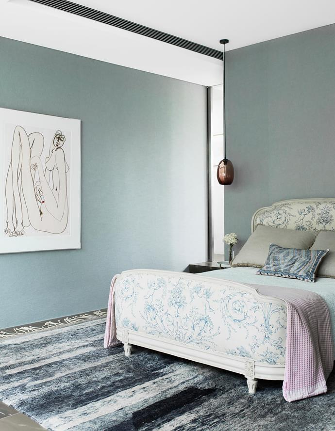 The bedroom takes on a different character with a sense of soft fabric and muted tones on the rug and bedding, and wall colour. The Brett Whiteley artwork finds the perfect position on the wall.