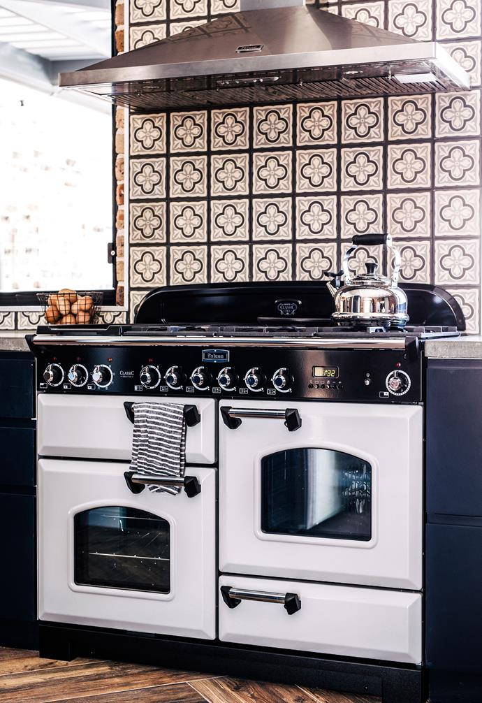 "**Personality plus** Who said tiles had to be boring? Patterned tiles can add a playful element to the kitchen, like in this stunning [modern farmhouse](https://www.homestolove.com.au/modern-farmhouse-18904|target=""_blank""