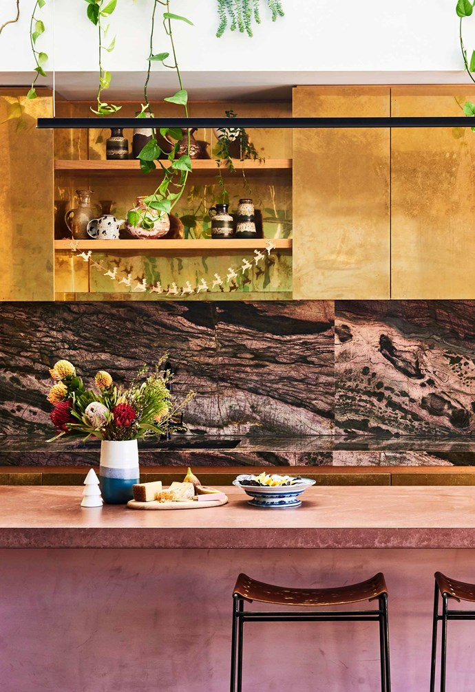 """**Precious stone** The [colourful home of Kip&Co co-founder Alex McCabe](https://www.homestolove.com.au/tour-alex-mccabes-of-kip-and-cos-st-kilda-home-17502 target=""""_blank"""") features a vibrant kitchen where all the elements combine to pack an eye-catching punch. Crocodile bamboo quartzite makes the splashback with the pink tones complementing the pink concrete island bench. *Architecture: [McManus Lew Architects](http://mcmanuslew.com.au/ target=""""_blank"""" rel=""""nofollow"""")   Build: [Ardlie Projects](https://www.instagram.com/ardlieprojects/ target=""""_blank"""" rel=""""nofollow"""")   Photography: Nikole Ramsay / bauersyndication.com.au*"""