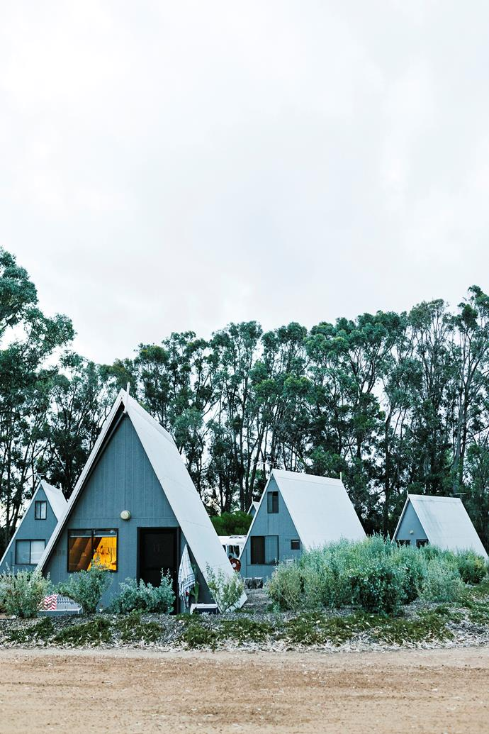 The A-frame chalets all sit alongside a path that winds around the village and the creek.