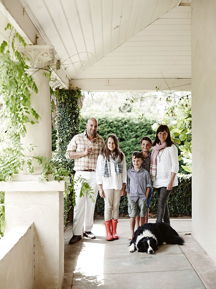 "Andrew and Susie with (from left) Lalla, Oscar and Ted, and Horrie. Andrew, who spent his youth in [Adelaide's foothills](https://www.homestolove.com.au/former-adelaide-hills-factory-becomes-rustic-home-13873|target=""_blank""), says his sense of attachment to the area has evolved over the years. ""I actually said I'd never come back to the Hills and when I first came up here, I still craved city living,"" he says. ""But now I love it."""
