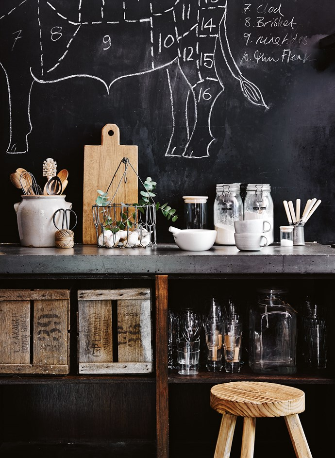 "**Steer towards stylish vessels**: In kitchens with open shelving, one of the best ways to keep your everyday essentials looking aesthetically pleasing, is to place them in plain containers. De-cluttering extraordinaire [Marie Kondo](https://www.homestolove.com.au/the-top-5-tidiness-tips-we-can-learn-from-marie-kondo-3392|target=""_blank"") refers to this as removing 'excess visual information.' For any items with particularly glaring labels, pop them into a stylish plain box. These rustic crates do just the trick."