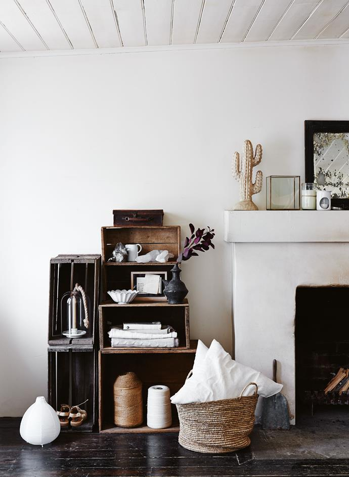 """**Modular shelving**: Custom timber shelving can cost a fortune, but that doesn't mean you should go without. Timber crates are a dime-a-dozen on sites like [Gumtree](https://www.homestolove.com.au/how-to-buy-and-sell-on-gumtree-3533