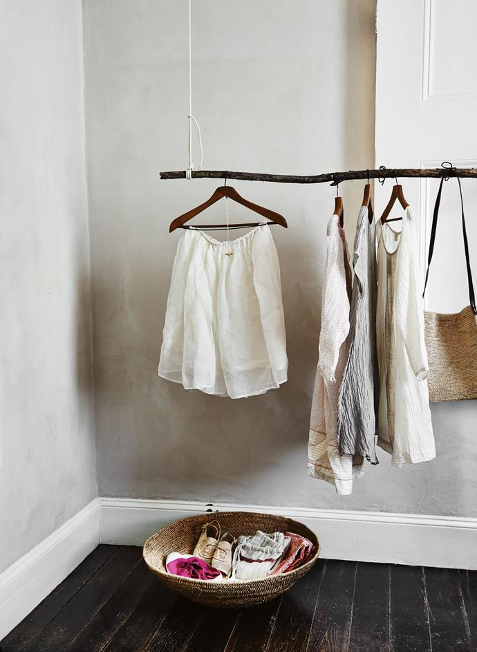 """**Make a DIY suspended wardrobe**: This is particularly useful for smaller homes, or older homes that lack in-built storage. Take a sturdy tree branch and tie it up to the ceiling. This will keep your clothing off the floor and free from creases. Try making it into a [pulley design](https://www.homestolove.com.au/george-and-willy-profile-19304