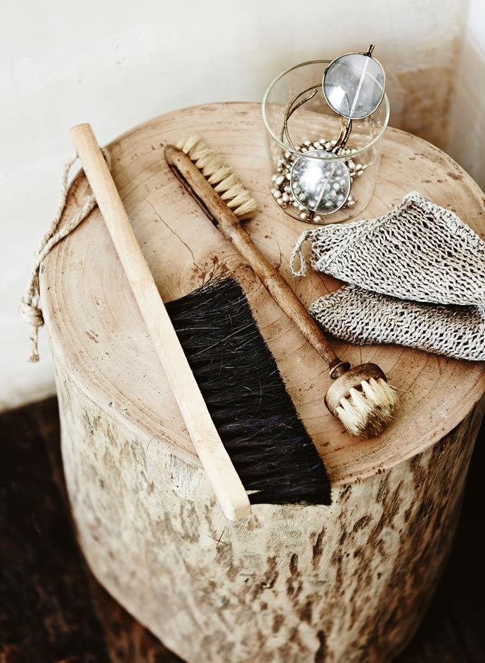 """**Keep close the items you reach for most** - Up the style *and* functionality stakes in your bathroom by keeping your scrubbing brushes, cleaning cloths on hand. Placed next to a [freestanding bathtub](https://www.homestolove.com.au/freestanding-baths-4520