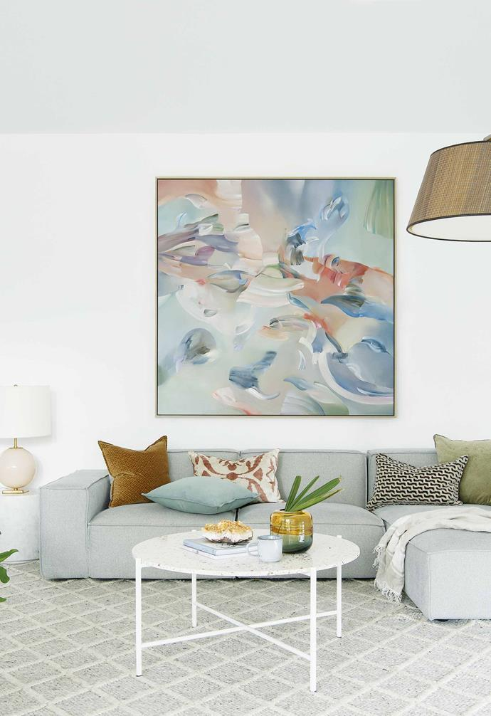"**Living area** Stephanie Reisch's artwork *Towards The Delicates* dominates and sets the tone. The sofa is from [GlobeWest](https://www.globewest.com.au/|target=""_blank""