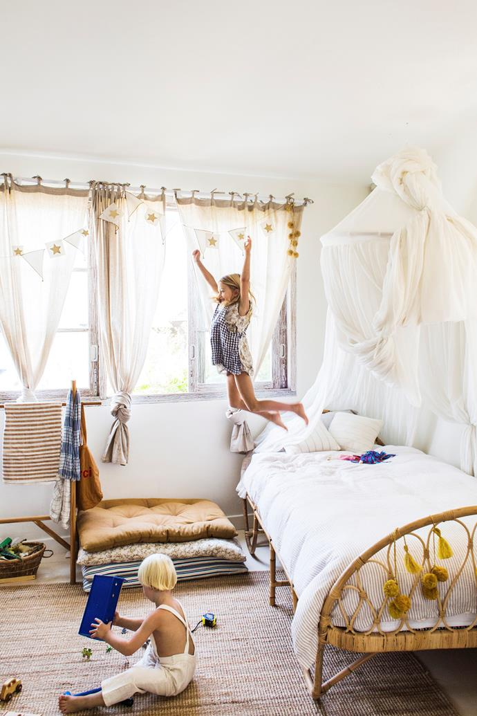 """The mosquito nets in Yolanda's room give it a fairytale feel, and the baskets make everything accessible – she's always rummaging through them, sorting through all of her travel souvenirs."" With floor cushions from Yoli and Otis, In Bed linen and the stunning rattan bed, it's definitely not your typical children's room."