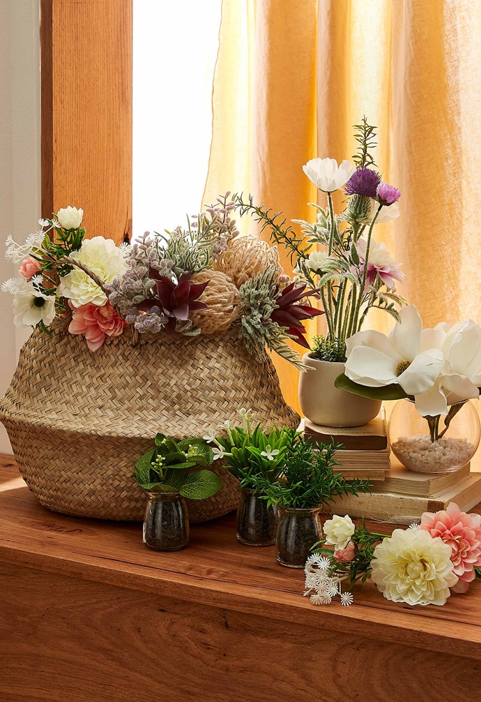 "Seagrass basket, $15, assorted faux plants $4-$15, [Target](https://www.target.com.au/|target=""_blank""|rel=""nofollow"")."