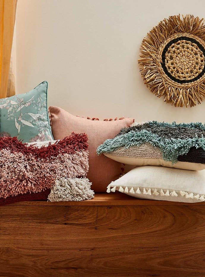 """Assorted cushions, $15-$20, Round wicker wall hanging, $20, [Target](https://www.target.com.au/