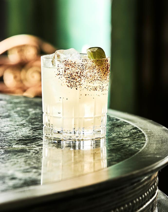 On the cocktail menu, kaffir lime margherita.
