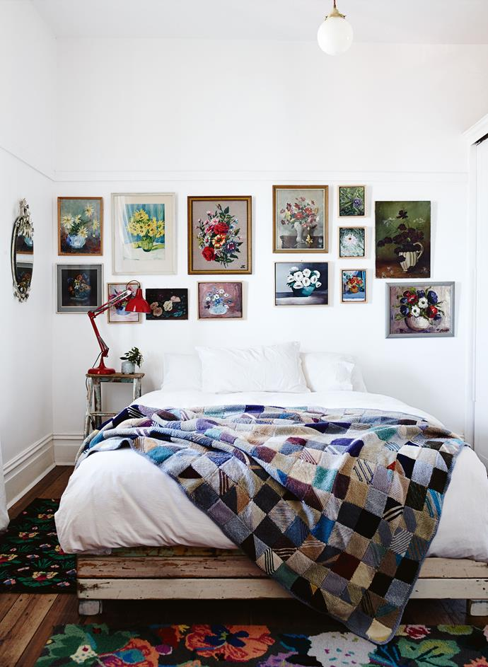 "A bedroom wall is hung with paintings of flowers in vases. Carmen has been collecting these for 30 years — mainly from [op shops](https://www.homestolove.com.au/why-you-should-op-shop-5666|target=""_blank""), but also the work of friends, and of her artist sister, Melissa Conroy. Matched with her mother's knitted patchwork rug, the room seems a celebration of the home comforts and deft skills of good country women."