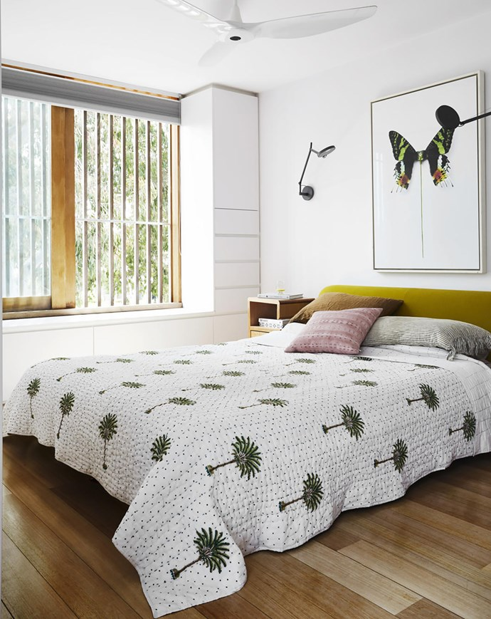 An artwork by street artist D*Face adds to the room's nature-based aesthetic. 'Siena' bed by Naoto Fukasawa, B&B Italia. 'Demetra' wall light, Artemide. Ceiling fan, Big Ass Solutions. Smart buy: 'Polka Dot Palm Tree' kantha quilt, $286, Peacocks and Paisleys.