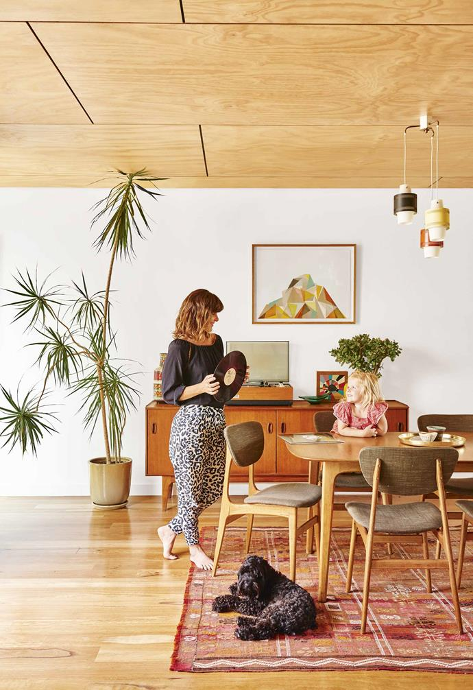 """I would rather give a second life to an old piece than buy new,"" says owner Sarah, who is passionate about vintage wares. Her dining chairs, for instance, were op-shop finds that she had re-covered in Mokum 'Ficus' fabric and the Danish sideboard came from [The Mill Markets](https://www.millmarkets.com.au/