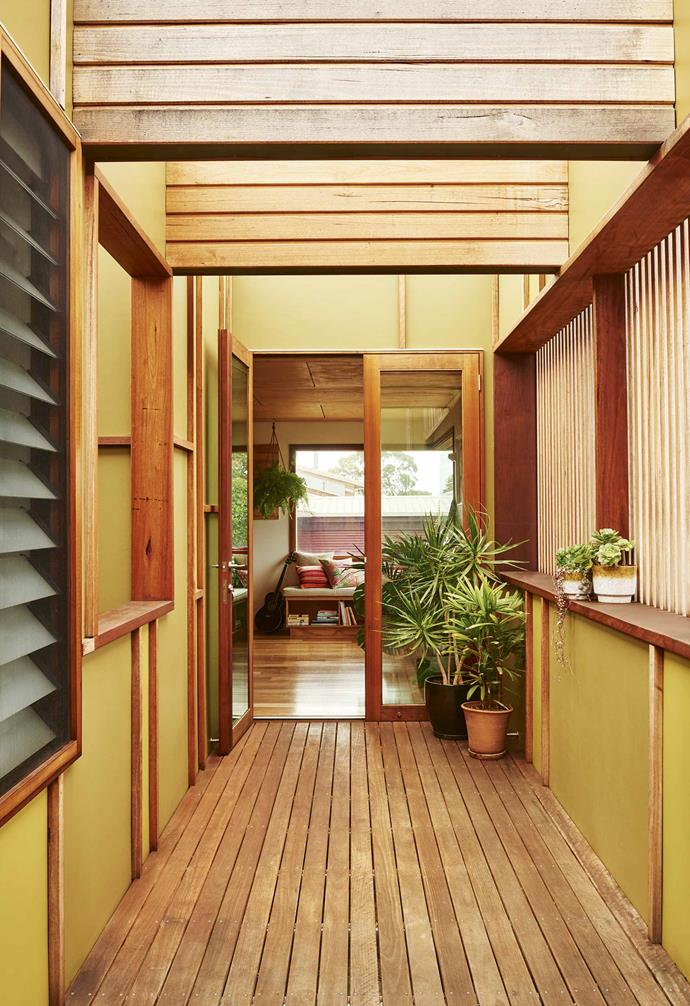 "Sarah and Scott's home is an ode to their love of timber, with silvertop ash and blackbutt used throughout. The external cement sheeting has been painted in two shades of green ([Dulux](https://www.dulux.com.au/|target=""_blank""