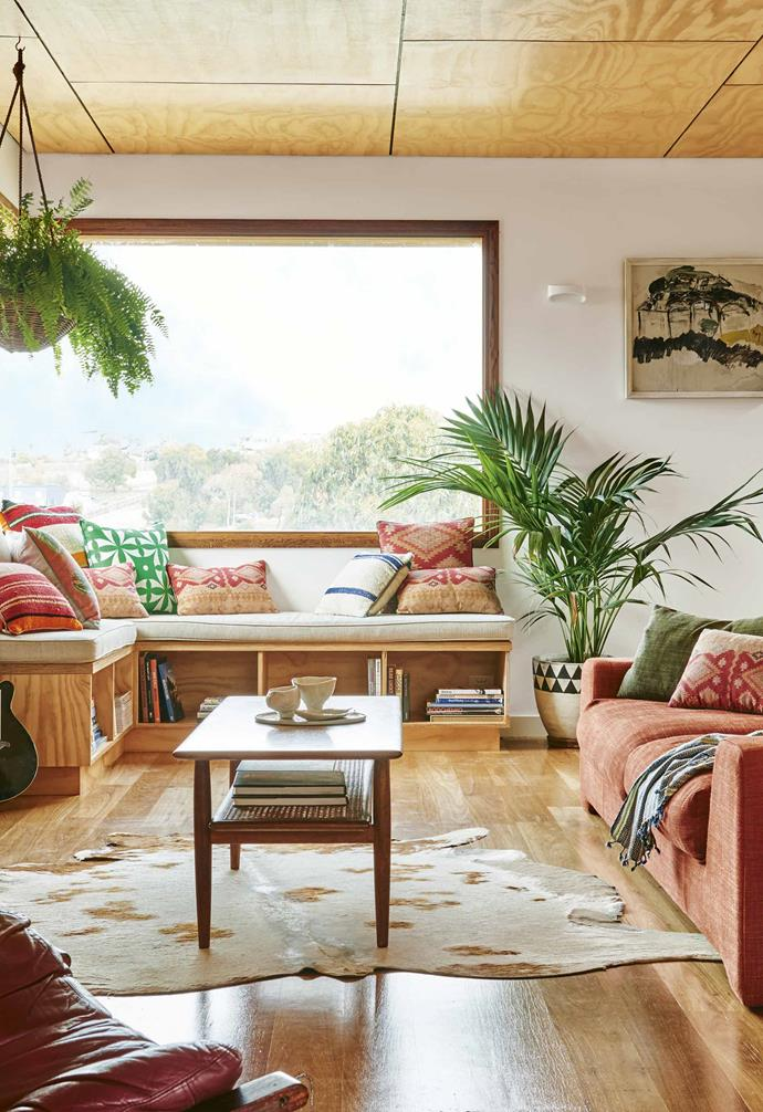 """As soon as people step into our home, they comment on how warm it feels,"" says Sarah. Ply board ceilings throughout the house cocoon the rooms and the [Jardan](https://www.jardan.com.au/