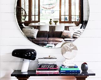 Artistic gold mirror