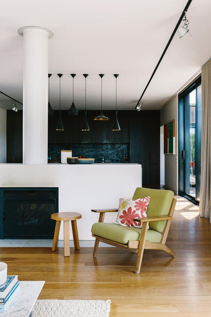 """Imogen loves the casual country feel in what is a very  modern, but earthy structure, and it's a house that is equally inviting for the dogs, Maci the Hungarian vizla, and Charlie and Millie, both rescued greyhounds. """"I love it when I go to a [hotel room](https://www.homestolove.com.au/stylish-luxury-hotel-rooms-19573