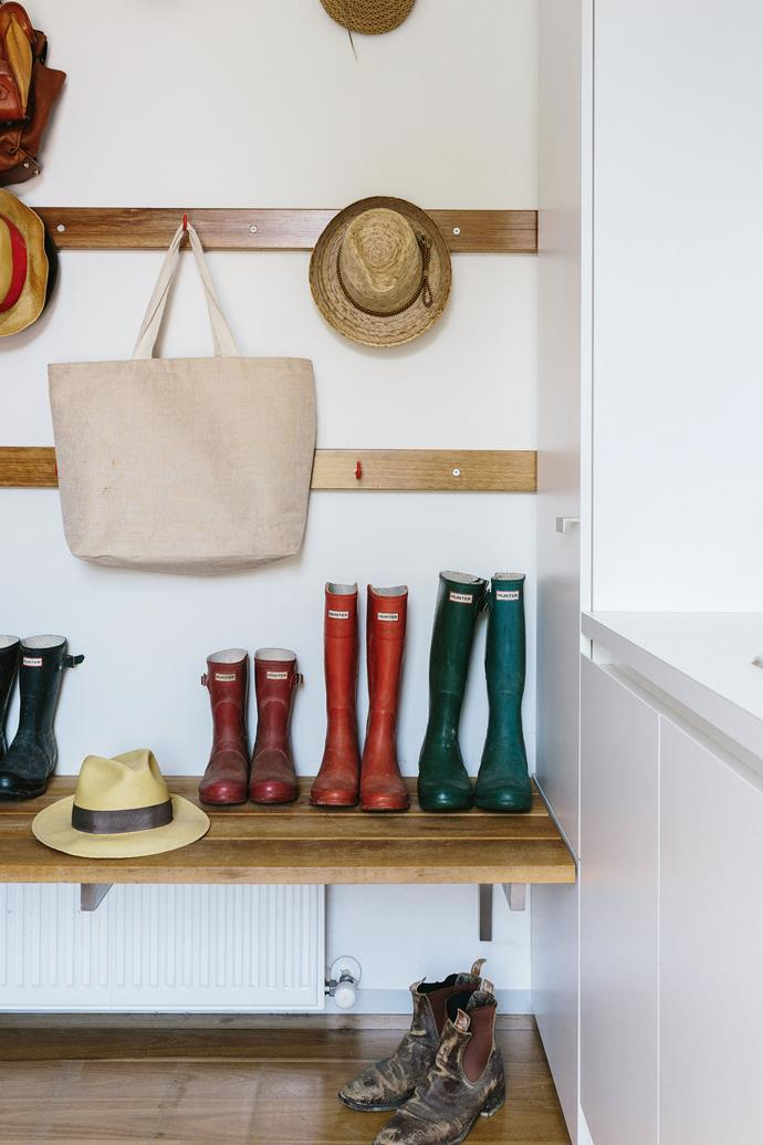 Everyone's boots have their own place in the mudroom which boasts plenty of built-in storage.
