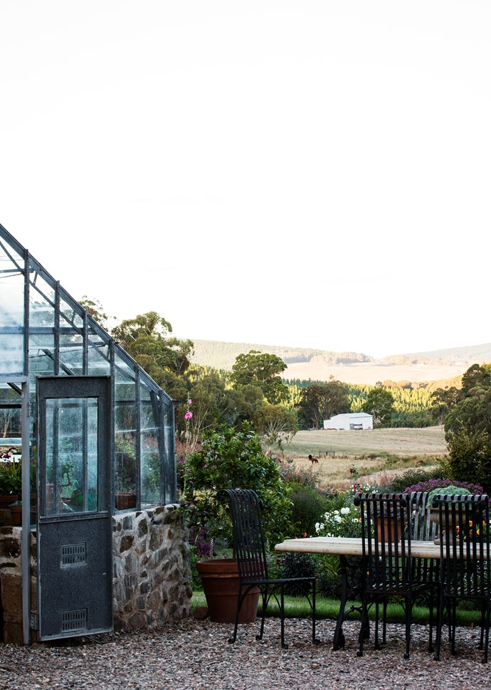 The glasshouse built by Andrew is a room with a view.