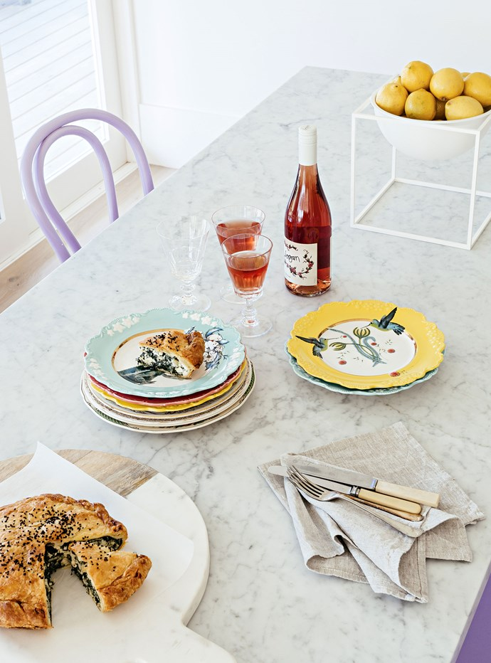 "[Logan Wines](http://www.loganwines.com.au/|target=""_blank"") rosé with spinach pie laid out on the marble-topped dining room table."