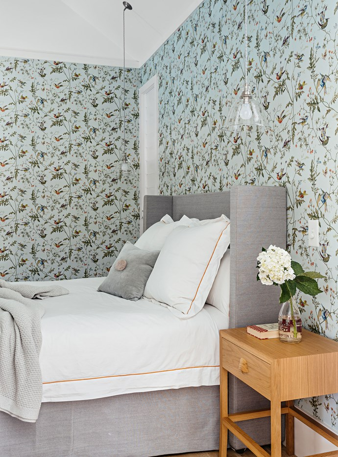 "[Whimsical wallpaper](https://www.homestolove.com.au/whimsical-wallpaper-6635|target=""_blank"") was at the top of Hannah's wish list for the bedrooms, with Anthropologie's Vanuatu Twilight — a reprint of an archive Cole & Sons print from the 19th century — setting a sophisticated tone in the master bedroom."