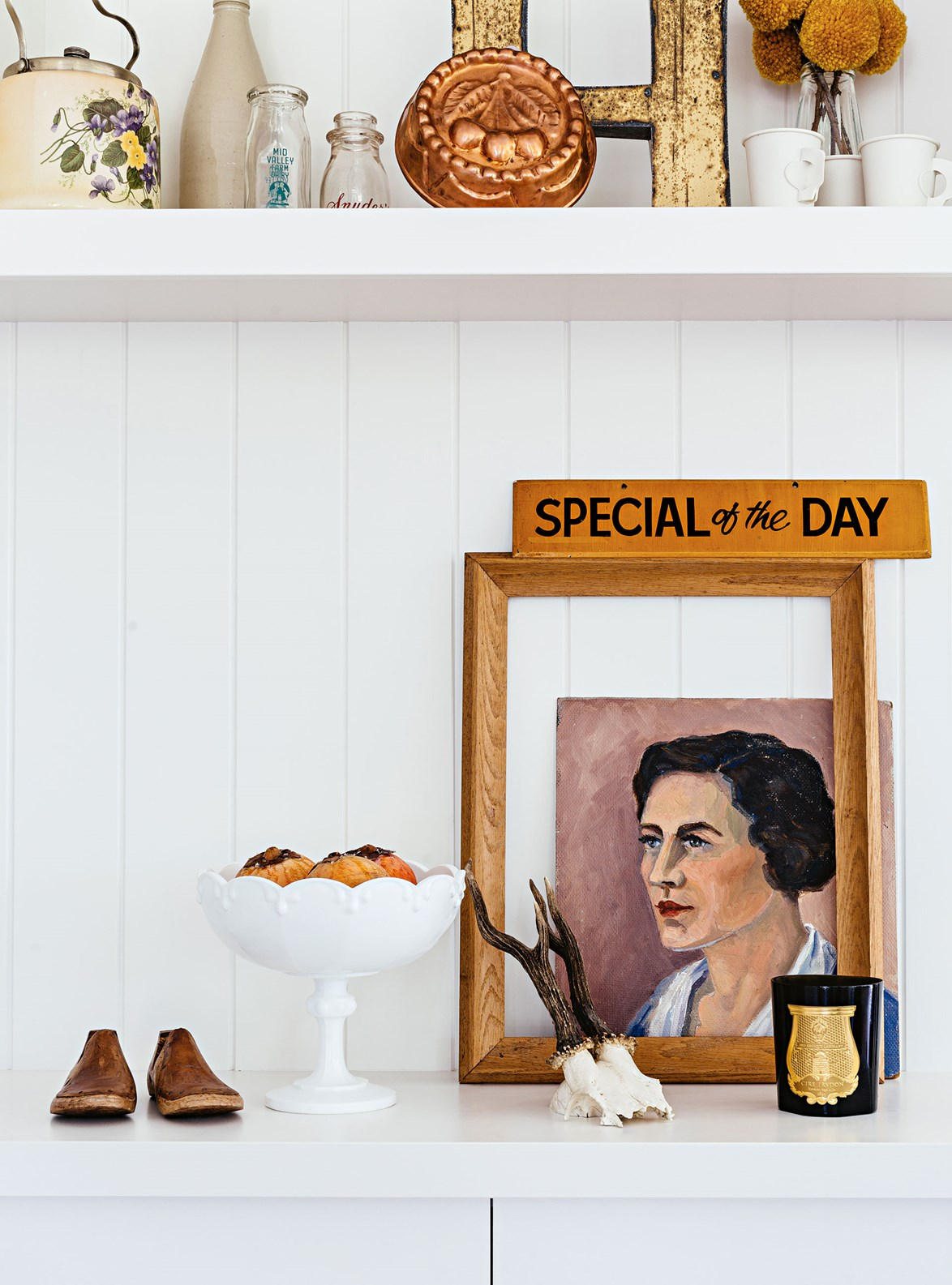 """A collection of vintage treasures and artwork found on Etsy, creates a colourful display in this [modern farmhouse in Mudgee](https://www.homestolove.com.au/modern-shaker-country-home-13758 target=""""_blank"""")"""