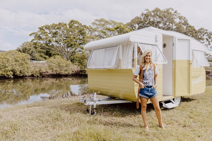 "Like children, Carlene can't possibly choose a favourite but loves all four caravans for different reasons. ""It's hard to not hold a soft spot for your first which was Millie. Dolly is our largest and therefore most comfortable but I think Bumbleblee is our most sophisticated with the oak and rattan cabinetry."""