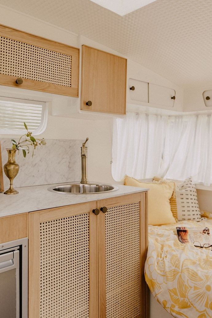 Beautiful brass tapware adds a luxe touch and has become Michael and Carlene's signature finish in their caravan renovations.