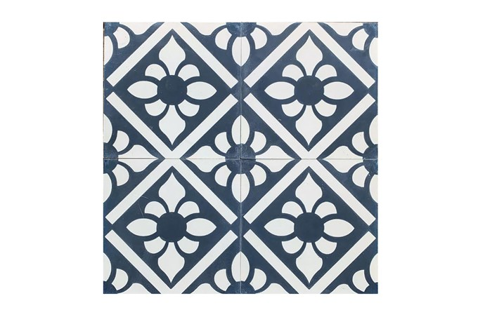 "Navy Lily Reproduction Encaustic Tile, from [jatanainteriors.com.au](https://www.jatanainteriors.com.au/reproduction-tiles/|target=""_blank""