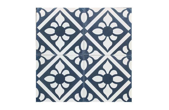 "Navy Lily Reproduction Encaustic Tile, from [jatanainteriors.com.au](https://www.jatanainteriors.com.au/reproduction-tiles/ target=""_blank"" rel=""nofollow"")"