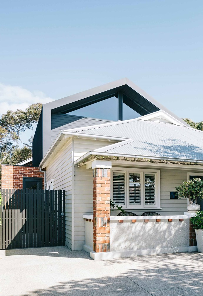 """**Facade** The bungalow's traditional weatherboard and red brick [facade](https://www.homestolove.com.au/home-exterior-materials-14909