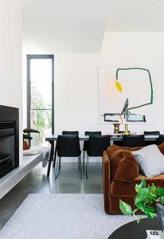 "**Living and dining area** Concrete features throughout the extension, such as the polished burnished [concrete flooring](https://www.homestolove.com.au/concrete-flooring-16194|target=""_blank""), add a refined industrial touch. Artwork: *Sail Study #1* by Maximilian Daniels, courtesy of [Piermarq Gallery](http://www.piermarq.com.au/