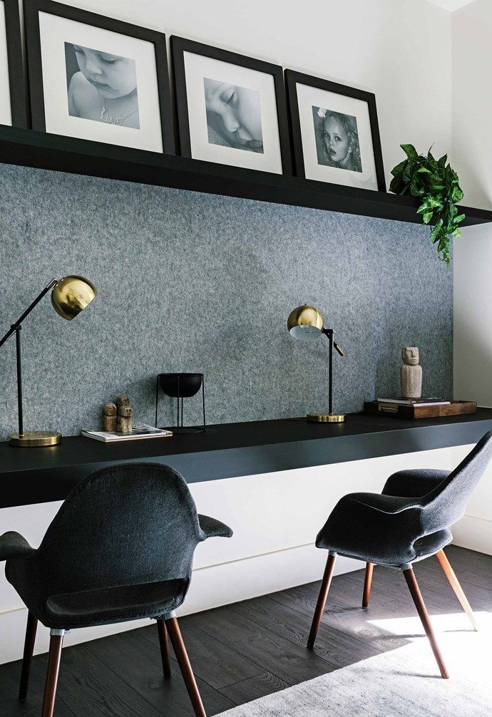 """**Study** The kitchen in the old house was reconfigured as an office-study. The shelf displays family photos, and the [Echopanel](https://www.wovenimage.com/brands/echopanel/ep-12mm-63.html