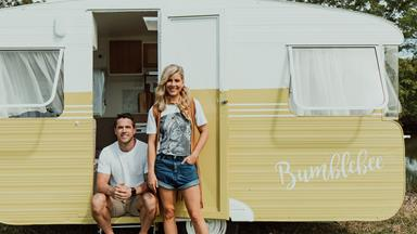 Michael and Carlene are auctioning off their revamped retro caravan, 'Bumblebee'