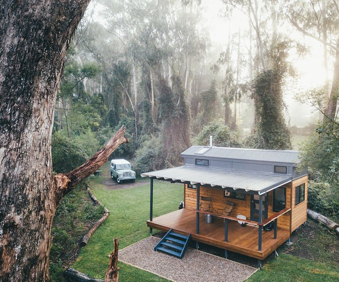 Exterior of a tiny home cabin, Tallarook tiny home in Shoalhaven