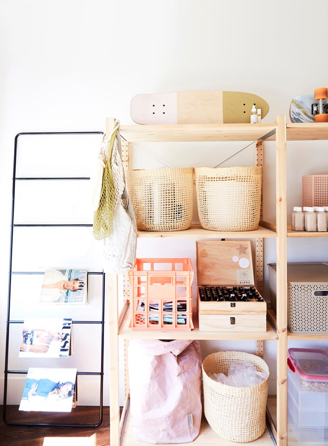 Stylish storage baskets and crates keep this creative workspace in order.