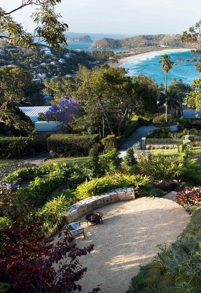 **Front garden** Spectacular views of Barrenjoey Head can be had from the house and the fire pit area.
