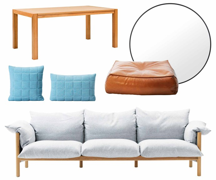 """**Get the look** (clockwise from left) 'Brooks' dining table, $1399, [Oz Design Furniture](https://ozdesignfurniture.com.au/