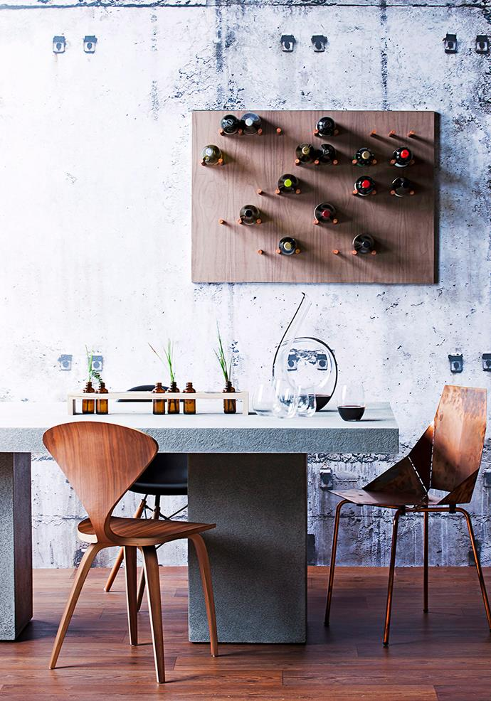 While you may like keeping your collection hidden away, it pays to have a small display unit to showcase those special bottles that are just begging to be opened.  <br><br> This clever wine rack doubles as a compact storage shelf and piece of art. Keeping bottles in an optimal horizontal position, this rack also provides perfect above-the-table access come intimate soirées or long lunches. *Photo: Maree Homer / Bauersyndication.com.au*