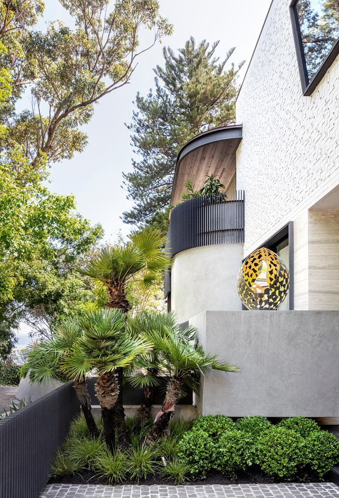 **Anthony Wyer - Wyer & Co** <p> Buxus spheres at the entrance mingle with European fan palm and *Lomandra longifolia* 'Tanika'. The house is finished in white Inax uneven tiles, travertine and stucco render. The sculpture perched on the wall is by David Harbour. The path is cobblestoned in granite. *Photograph*: Jem Cresswell