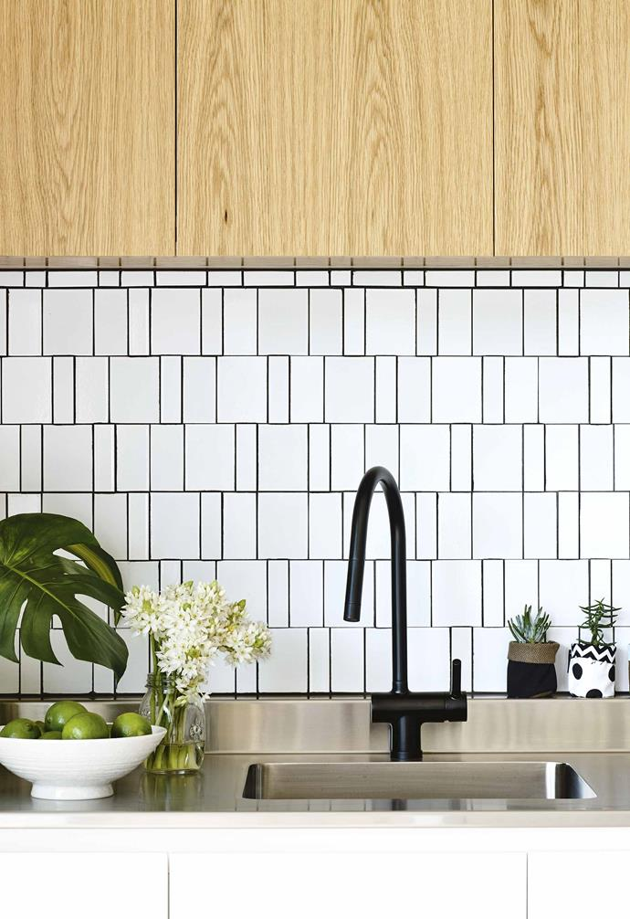"**Statement style** A black mixer tap echoes the graphic appeal of the tiled splashback in this kitchen designed by [InForm Design](https://informdesign.com.au/|target=""_blank""