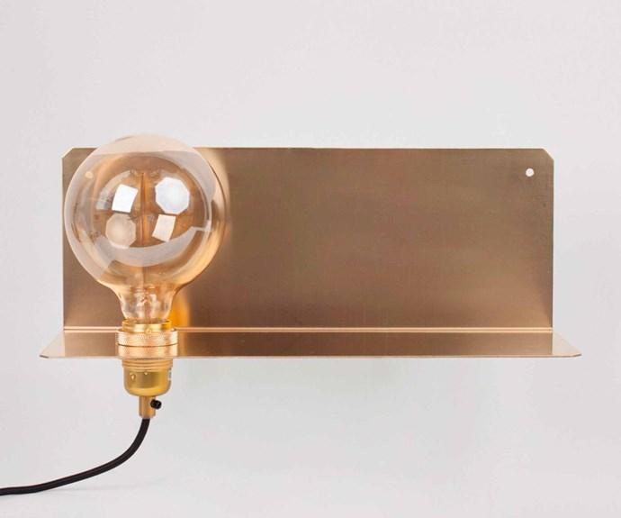 "Frama Studio 'Frama 90°' wall light and brass shelf, $499, [Designstuff](https://www.designstuff.com.au/|target=""_blank""|rel=""nofollow"")."